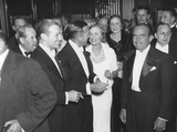 The opening night of 'The Private Life of Henry VIII' (group including Douglas Fairbanks Jr and Noël Coward)