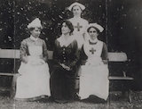 Helena Violet Alice (née Fraser), Countess of Stradbroke; Mabel Jellico; Kathleen Mullock and one unidentified nurse