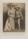 Queen Mary when Duchess of York as a Lady of the Court of Marguerite de Valois and King George V when Duke of York as George Clifford, Earl of Cumberland