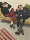 A portrait of two female painters by Ania Hobson
