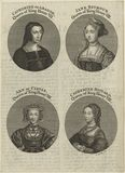 Louise of Savoy engraved as as Katherine of Aragon; Jane Seymour; Anne of Cleves; unknown woman engraved as Catherine Howard