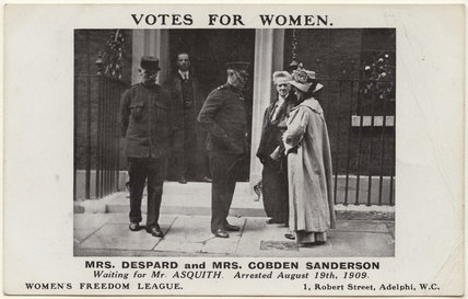 Charlotte Despard (née French); Anne Cobden-Sanderson with three unknown men