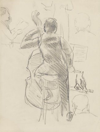 Double bass player, possibly Eugene Cruft