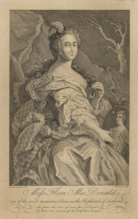Flora Macdonald with oval portrait of Prince Charles Edward Stuart