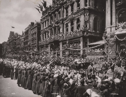 Queen Victoria's Diamond Jubilee Procession in Cheapside - The Royal Carriage passing the Gresham Insurance Co's offices and Christ's Hospital boys cheering the Queen