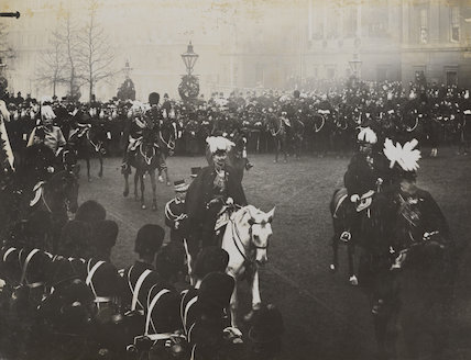 Royal mourners in Queen Victoria's funeral procession at Hyde Park Corner