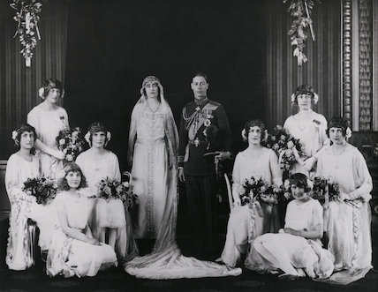 The wedding of King George VI and Queen Elizabeth, the Queen Mother