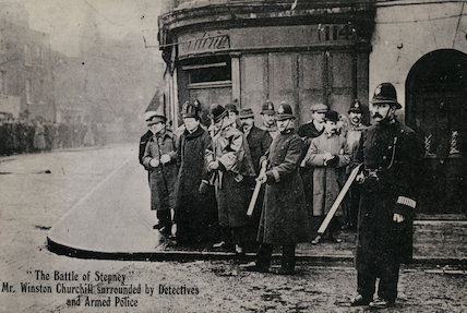 Winston Churchill at the 'Battle of Stepney'