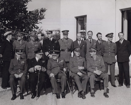 Winston Churchill with the British delegation at the Casablanca Conference