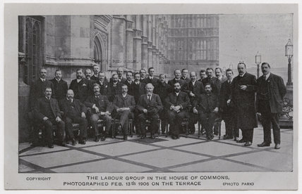 'The Labour Group in the House of Commons, Photographed Feb. 13th 1906 on the Terrace'