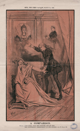 'A Comparison' (Queen Elizabeth I; Queen Victoria; Britannia; Ellen Terry as Hamlet)