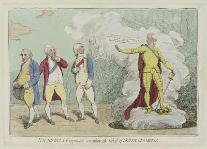 'Malagrida and conspirators, consulting the ghost of Oliver Cromwell'