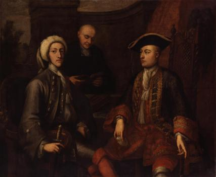 Three unknown men, of which two formerly known as John Montagu, 2nd Duke of Montagu, James O'Hara, 2nd Baron Tyrawley