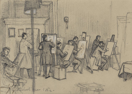 Ferdinand Pickering and seven unknown art students