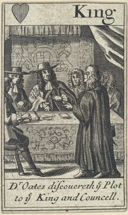 'Dr Oates discovereth ye Plot to ye King and Councell' (Titus Oates; King Charles II)