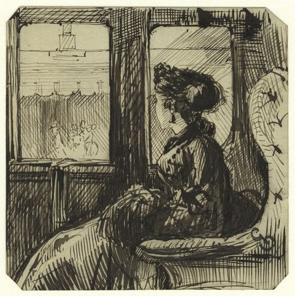 Study of an unknown woman in a train car