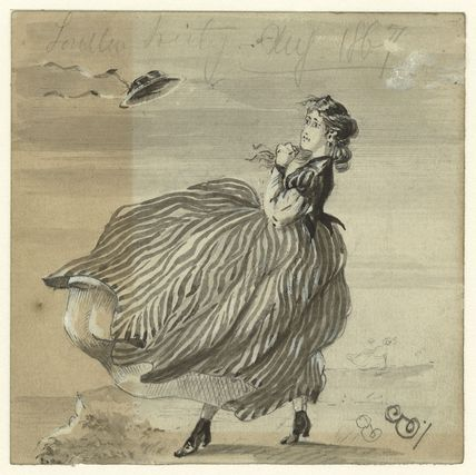 Sketch of an unknown woman blown by wind