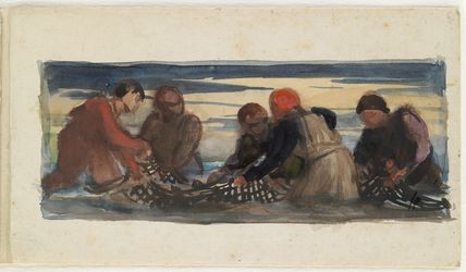 Group of five men working with a net