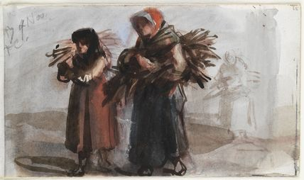 Three unknown women carrying bundles of sticks