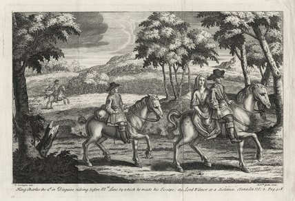 King Charles the 2d. in Disguise rideing before Mrs Lane by which he made his Escape; the Lord Wilmot at a distance.