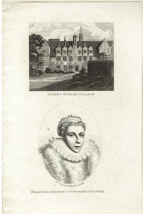 Frances Radclyffe (née Sidney), Countess of Sussex and view of Sidney Sussex College