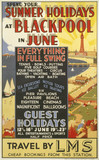 'Summer Holidays at Blackpool', LMS poster, 1923-1947.