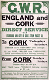 'England and Cork - Direct Service', GWR poster, 1919.