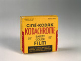 Box of Cine-Kodak Kodachrome 16mm safety colour film, c 1935.