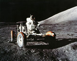 Apollo 17 astronaut Eugene Cernan with the Lunar Rover, 1972.
