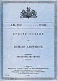 Patent specification for Arkwright's spinning machine, 1769.