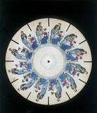 Phenakistoscope disc showing a family scene, c 1830.