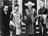 Erwin Schrodinger, Austrian physicist, with three colleagues, c 1950-1959.
