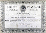 Honorary diploma from the French Society of Universal Statistics, 1833.