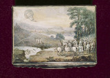 A balloon in a rural landscape, with river and horsemen, late 18th century.