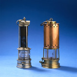 Two Clanny safety lamps, 1869-1874, and 'bonnetted' Clanny lamp, c 1882.