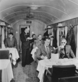 Taking tea in British Railways First Clas dining car, March 1951.