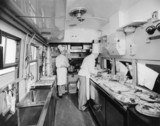 British Railways chefs at work in a kitchen car, March 1951.