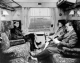 Pasengers seated in British Railways FirstClas compartment, 1951.