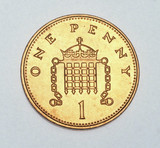 British one penny coin, 1982-2002.