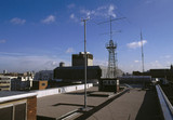 Radio aerials sited on the roof of the Science Museum, London, 1980s.