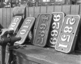 A collection of brass number plates at Swindon 'works'.