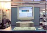 Internet screen on a computer, Westminster University, London, 1997.