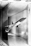 A wind tunnel model of Concorde on test, 1962.