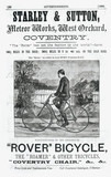 Advertisement for the Rover safety bicycle, 1888.