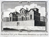 The Middlesex Hospital, near Oxford Road, London, c 1837.