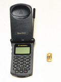 Motorola StarTAC mobile phone with chip, 1997.
