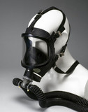 Breathing apparatus with full-face rubber mask, c 1980.