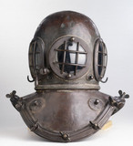 Early helmet for closed diving dres, 1839.