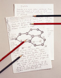 Sketch of carbon atoms, 1990s.