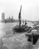Barges on the River Thames, London, c 1920s.